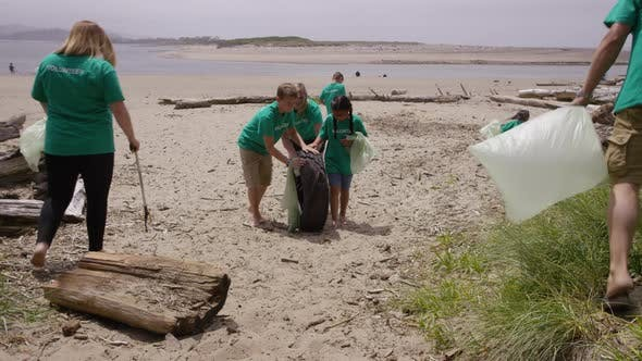 Thumbnail for Group of volunteers cleaning up beach