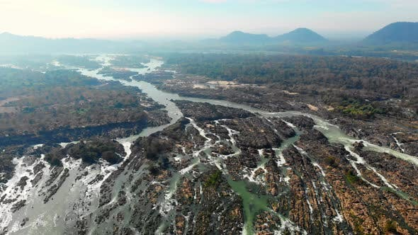 Aerial: flying over the 4000 islands Mekong River in Laos