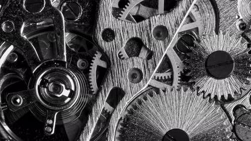 Black and White Vintage Close View of Watch Mechanism