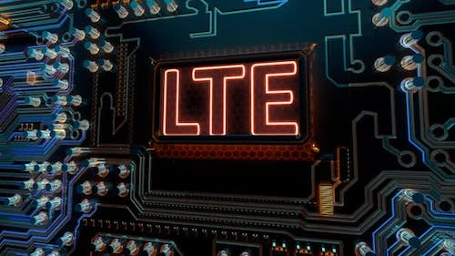Technology Network Internet Connection and Lte Words on Digital Futuristic Circuit Board