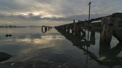 Timelapse abandoned fisherman pier