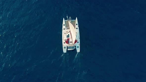 Thumbnail for Catamaran Sailing on the Sea. Aerial Shoot of the Catamaran Sailing in the Wind