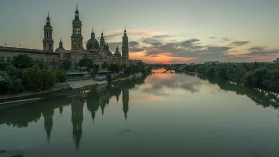 Thumbnail for Timelapse View of Basilica of Our Lady of the Pillar in Zaragoza During Colorful Sunset, Spain