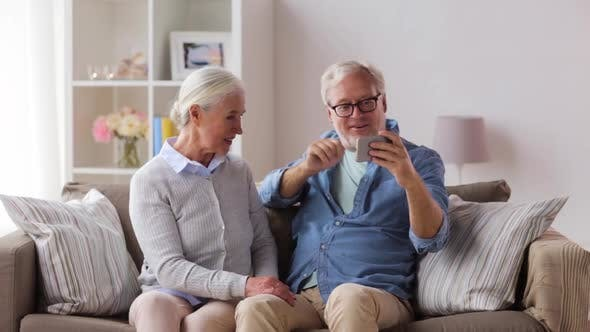 Thumbnail for Senior Couple Taking Selfie By Smartphone at Home 23