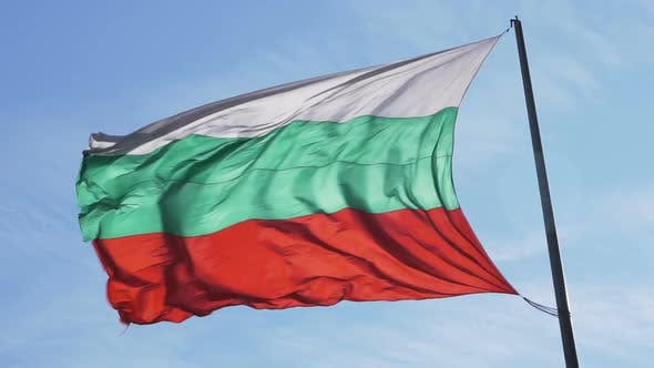 Thumbnail for Bulgarian Waving Silk Flag on Flagpole Against Blue Sky