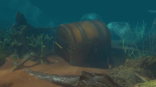 Unterwasser-Schatztruhe