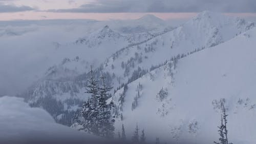 Blizzard Snow Clouds Time Lapse In Snowy Winter Weather Conditions In Cascade Mountain Range