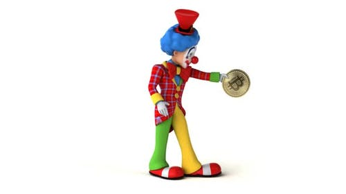 Fun 3D cartoon clown dancing with a bitcoin