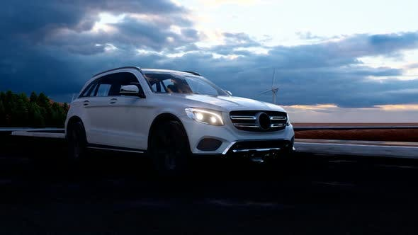 Thumbnail for White Luxury SUV Long Evening Towards Evening