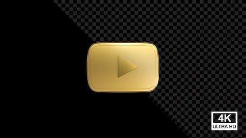 You Tube Gold Button With Smoke 4K