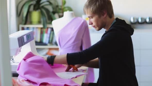 Thumbnail for Fashion Designer with Cloth Making Dress at Studio