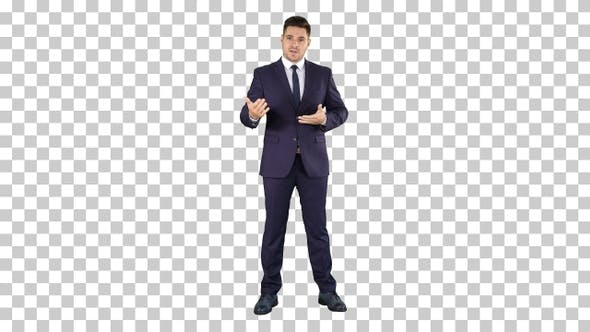 Thumbnail for Handsome Businessman Looking in Camera and Talking, Alpha Channel
