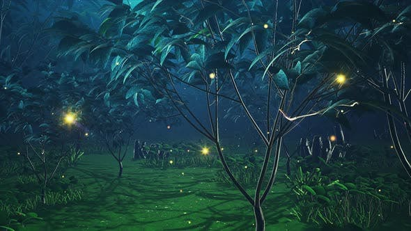 Thumbnail for Magic Night Firefly Forest 4k