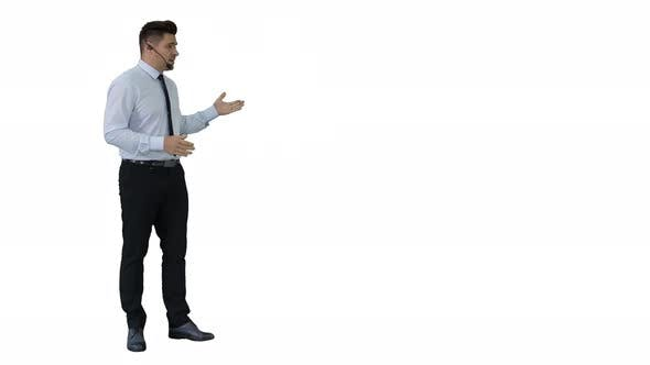 Thumbnail for Businessman Making a Presentation of New Product or Technology on White Background.