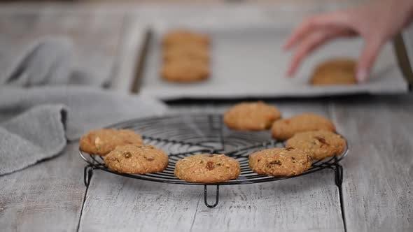 Frisch gebackene Haferkekse mit Nüssen Rosinen auf Kühlregal