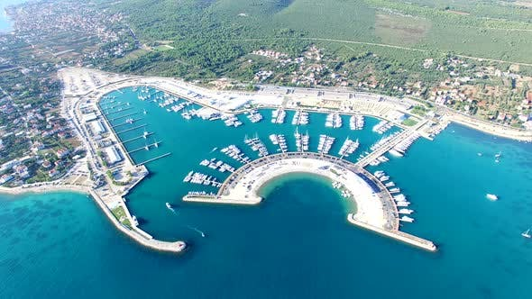 Thumbnail for Aerial view of famous dalmatian yachting destination of Sukosan city, Croatia