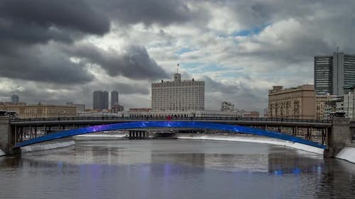 View of The Government House and Smolenski bridge in Moscow.