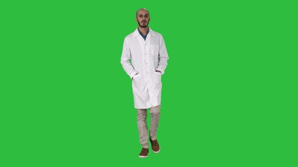 Thumbnail for Arab handsome doctor wearing his uniform walking with hands