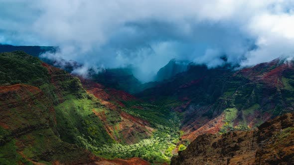 Time Lapse View Of Clouds Coming and Filling the frame at Waimea Canyon In Kauai Island