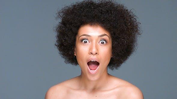 Shocked Beautiful African American Woman