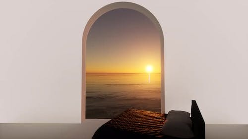 Bed Sunset Sea in 3d Style