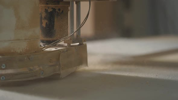 Woodworking Shop and a Machine for Processing Wooden Blanks Closeup