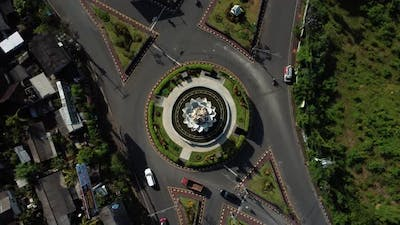 Dense Traffic Roundabout Top Down Rotating Aerial