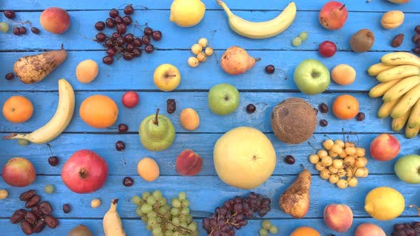 Thumbnail for Fruits on Blue Ecological Background