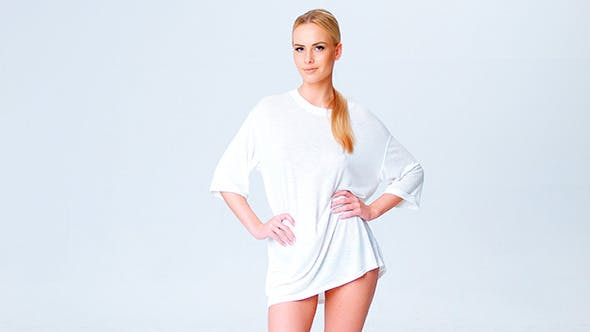 Thumbnail for Blond Natural Girl Posing in White T-Shirt