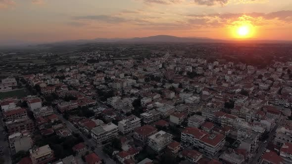 Thumbnail for Aerial Townscape at Sunrise. Nea Kallikratia, Greece