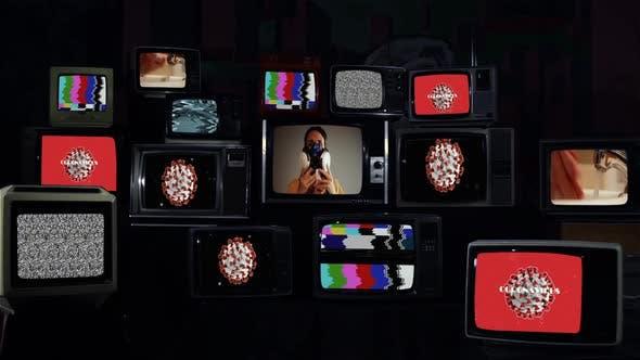 Thumbnail for Pile of Retro TVs and Coronavirus Global Pandemic.