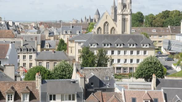 Thumbnail for City of Caen located in northen French region Normandy 4K 3840X2160 UltraHD tilt footage - Tilting o