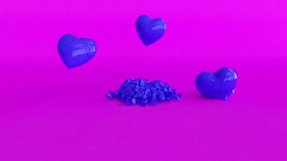 Several Cold Blue Hearts are Smashed to Smithereens on the Purple Surface