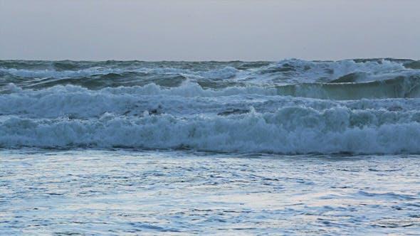 Thumbnail for Sunset Storm Waves Crashing During Windy 02