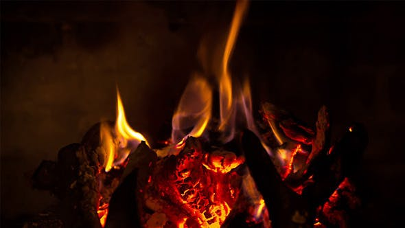 Thumbnail for The Firewood Burning in the Fireplace 02