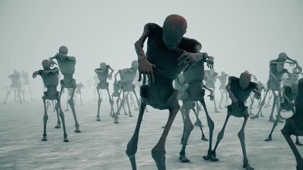 Scary Zombies Crowd Walking 4k