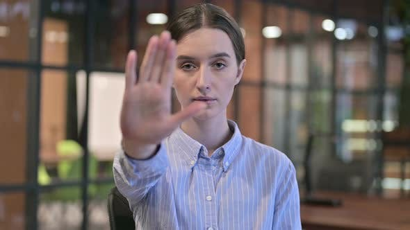 Thumbnail for Stop Gesture By Young Woman, Disliking and Rejecting