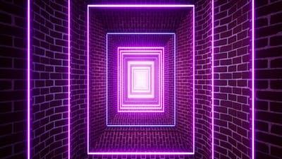 Neon Light Stone Brick Tunnel