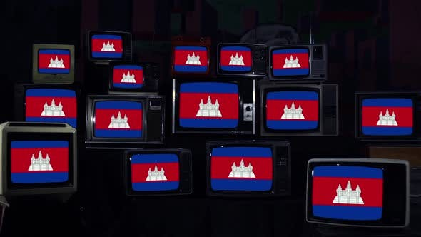 Thumbnail for Flags of Cambodia on Retro TVs.