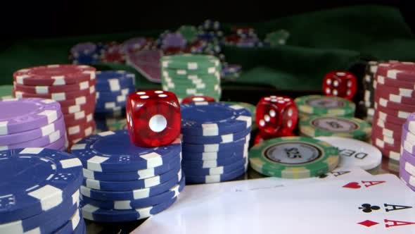 Gambling Poker Cards Money Chips And Red Dices