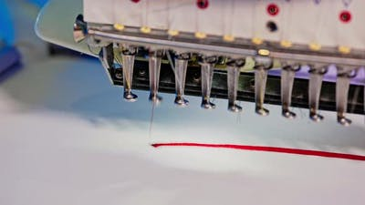 The Automatic Embroidery Machine is Working at High Speed