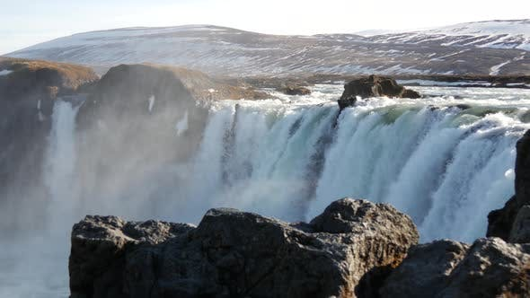 Thumbnail for Pan from the Godafoss waterfall