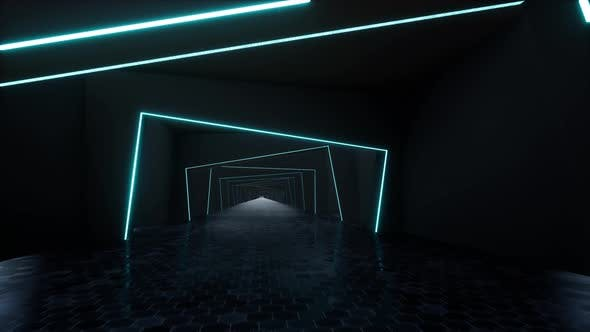 Long Neon Tunnel Futuristic Laser Background Technology Network Concept