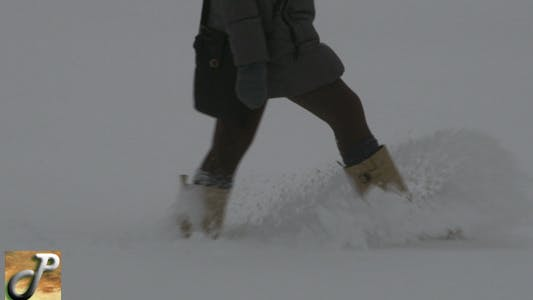 Thumbnail for Woman Walking On The Snow 02