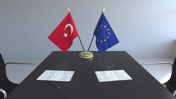 Thumbnail for Flags of Turkey and the European Union on the Table