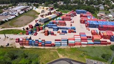 Aerial View Cargo of Business Logistic Transportation Freight