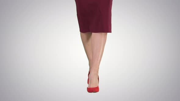 Slim Legs of Woman Wearing High Heel Shoes Walking, Alpha Channel