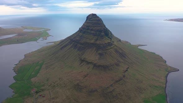 Flying Over Kirkjufell Mountain, Iceland