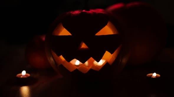 Thumbnail for Halloween Jack-o-lantern Burning in Darkness