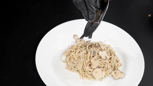 Thumbnail for Truffle Being Grated in White Dish with Italian Pasta On. Gourmet Cuisine, Truffles, Italian Pasta
